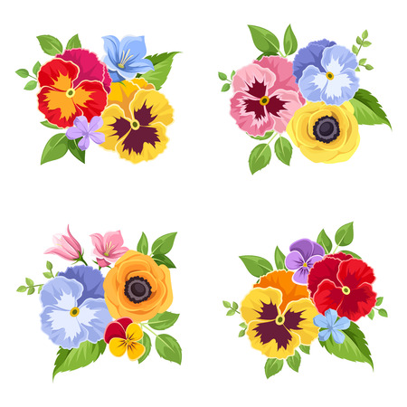 Insieme di vettore dei fiori variopinti di pansy e di bluebell e foglie verdi.