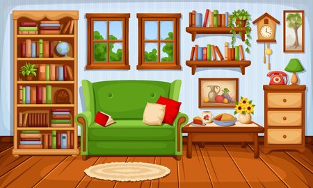 Vector cozy living room interior with a sofa and a bookcase. 矢量图像