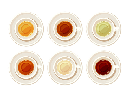 Vector set of porcelain cups of tea isolated on a white background. Illustration