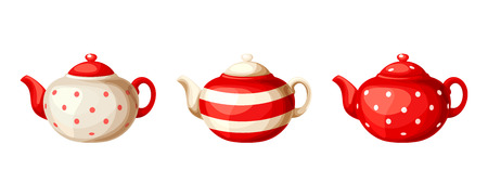 supper: Vector set of three red and white porcelain teapots isolated on a white background.