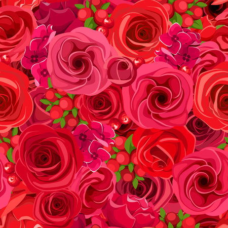 Vector seamless background with red roses, lisianthuses and hydrangea flowers.