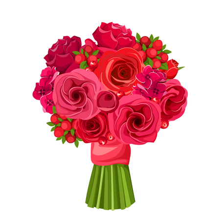 Vector bouquet of red roses and lisianthus flowers isolated on a white background. Çizim