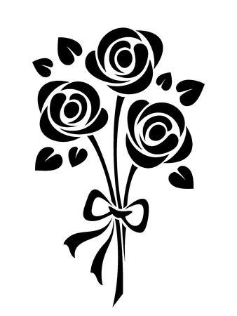 Vector black silhouette of roses bouquet isolated on a white background.