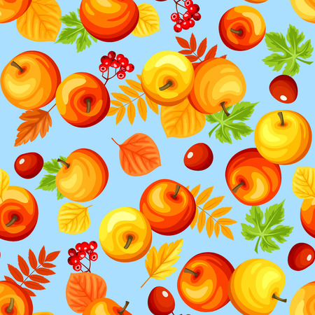Vector seamless background with colorful autumn apples, leaves and rowan berries on blue.