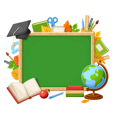 Vector background with green chalkboard, globe, books, grad cap, school supplies and autumn leaves.