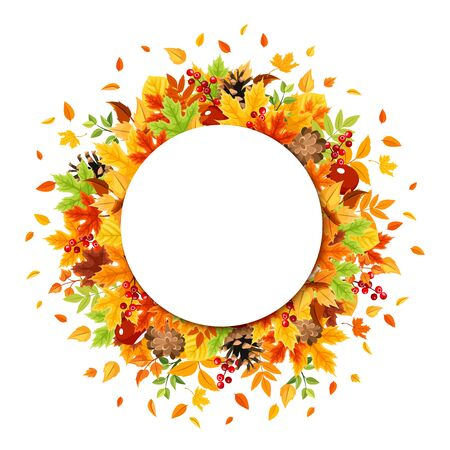 Vector circle background with colorful autumn leaves.