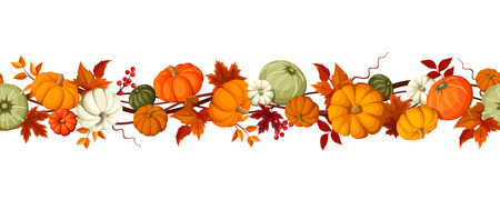 Vector horizontal seamless background with pumpkins and autumn leaves on a white background.
