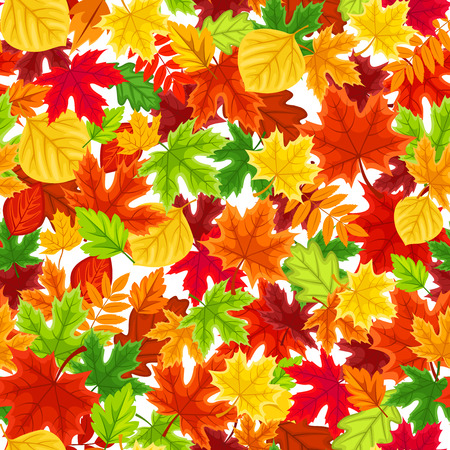 Vector seamless background with colorful autumn leaves.