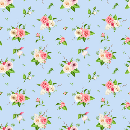 Pattern with pink and white roses, lisianthuses, lilac and hydrangea flowers on a blue background. Illustration