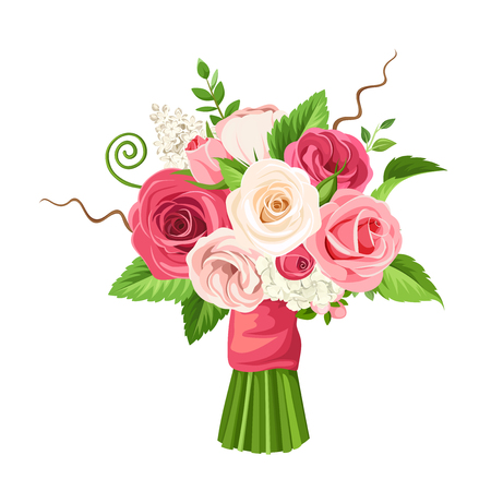 Vector bouquet of roses and flowers