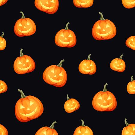 Vector seamless pattern with Jack-O-Lanterns (Halloween pumpkins) Illustration