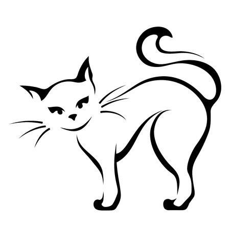 Vector black and white illustration of a cat.