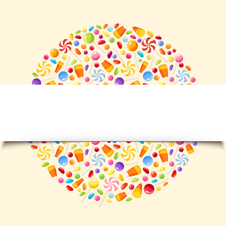 A Vector background banner with colorful Halloween candies.