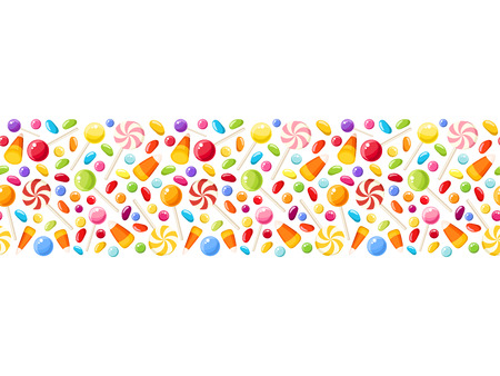 Vector horizontal seamless background with colorful Halloween candies.