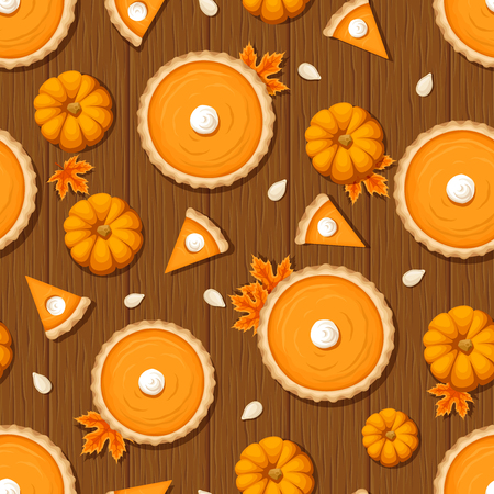 Vector seamless pattern with pumpkin pies, pumpkins and seeds on a wooden background. Illustration