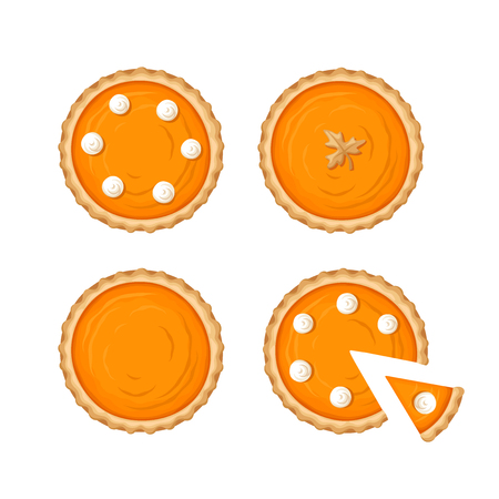 Vector set of pumpkin pies isolated on a white background. 矢量图像