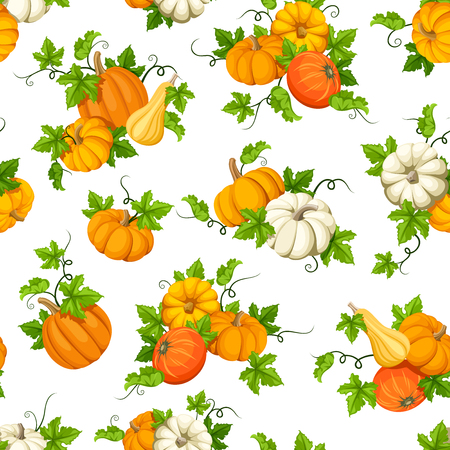 Vector seamless pattern with orange and white pumpkins and green leaves.