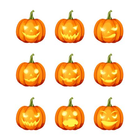 Vector set of nine jack-o-lanterns (Halloween pumpkins) isolated on a white background. Illustration