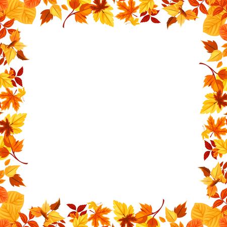 Colorful autumn leaves frame. Vector illustration.