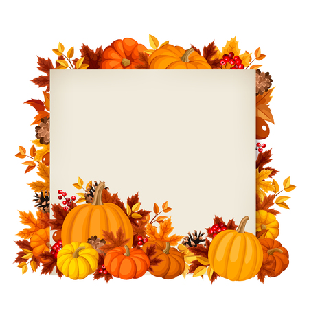 Vector card with orange pumpkins and autumn leaves.