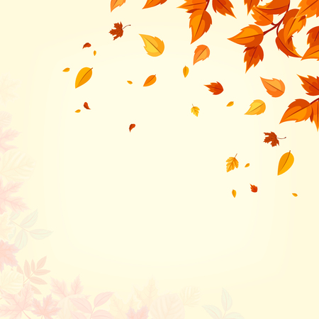 Vector background with orange autumn falling leaves.