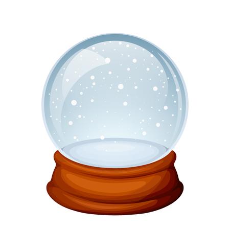 Vectorglas de sneeuwbol van Kerstmis die op een witte achtergrond wordt geïsoleerd.