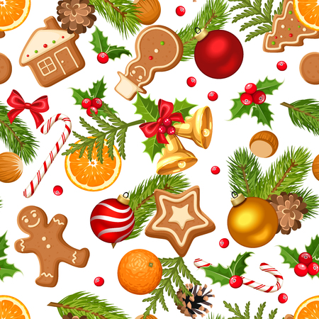 Vector Christmas seamless background with fir branches, balls, bells, gingerbread cookies, candy canes, holly, cones and oranges on a white background.