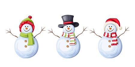 Set of three Christmas snowman design.
