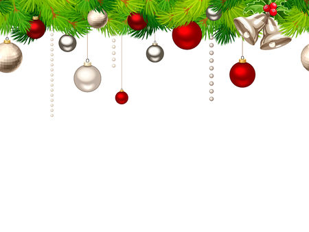 Vector Christmas horizontal seamless background with red and silver balls and green fir branches.
