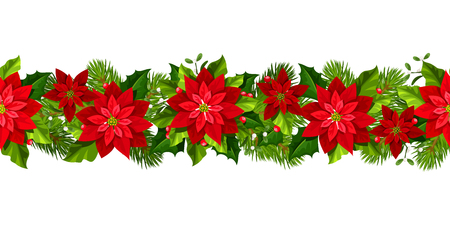 Vector Christmas horizontal seamless garland with red poinsettia flowers.