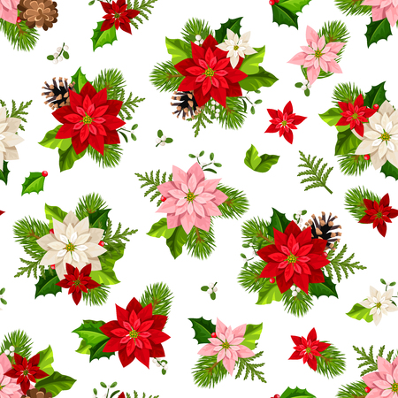 Vector Christmas seamless pattern with red, pink and white poinsettia flowers, fir-tree branches and cones.