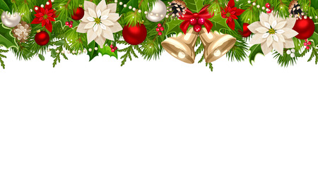 Vector Christmas horizontal seamless background with red and silver balls, bells, poinsettia flowers and green fir branches.