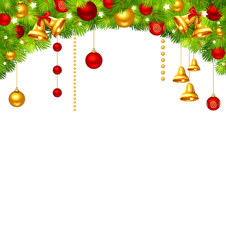 Vector Christmas background with green fir branches, red and gold balls, bells and stars. Illustration