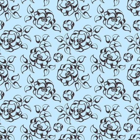 A Vector seamless blue floral pattern. Reklamní fotografie - 92559284