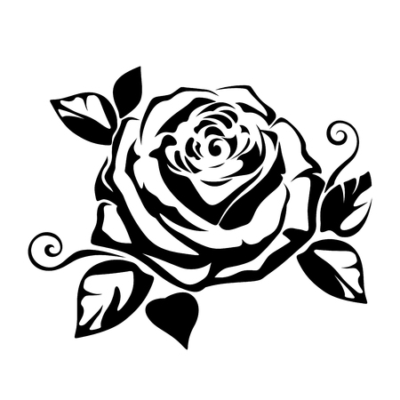 Vector black silhouette of a rose on a white background.