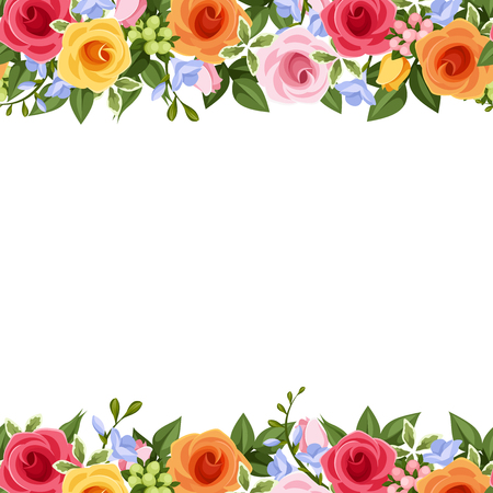 Vector horizontal seamless background with red, pink, orange and yellow roses, blue freesia flowers and green leaves on a white background.
