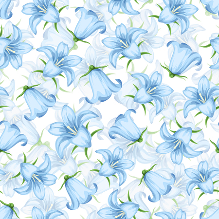 Vector seamless pattern with blue bluebell flowers on a white background.