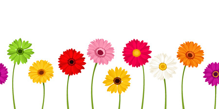 Vector horizontal seamless background with colorful gerbera flowers. 版權商用圖片 - 95951557