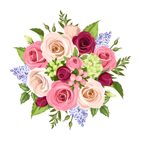 Vector bouquet of pink, white, purple and blue roses. Lisianthuses and lilac flowers, isolated on white background.
