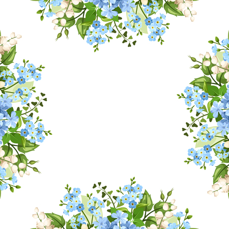 Vector background frame with blue and white forget-me-not, lily of the valley and plumbago flowers. Vettoriali