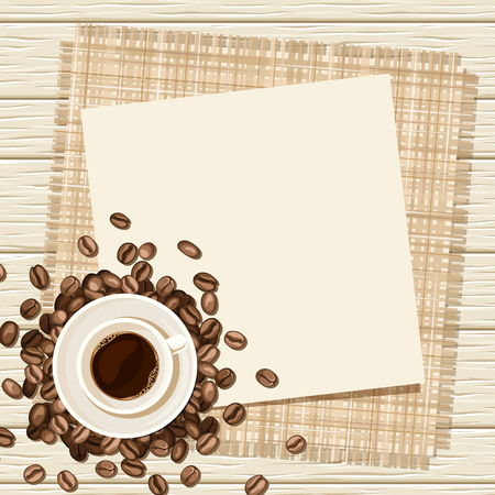 Vector background with cup of coffee and coffee beans on a wooden background. Ilustração