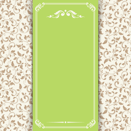 Vector green and beige invitation card with floral pattern.