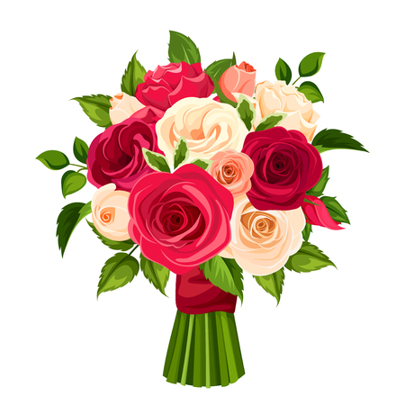 Vector bouquet of red, orange and white roses, isolated on a white background.