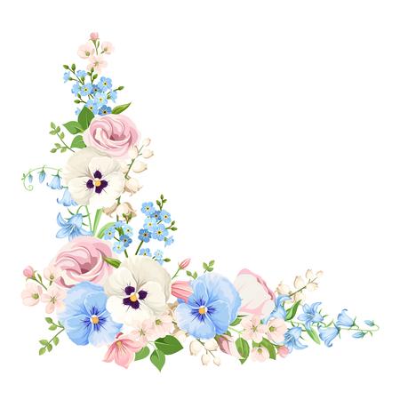 Narożnik tło z różowe, niebieskie i białe wiosenne kwiaty. Ilustracje wektorowe