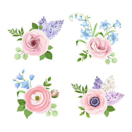 Vector set of pink, blue and purple flowers isolated on a white background.