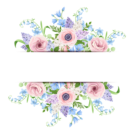 Vector banner with pink, blue and purple flowers.
