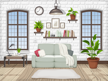 Vector loft living room interior with a white brick wall and big windows.