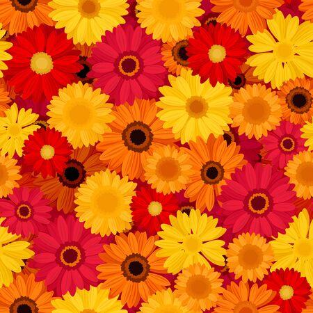 Vector seamless pattern with red, orange and yellow gerbera flowers. Ilustração Vetorial