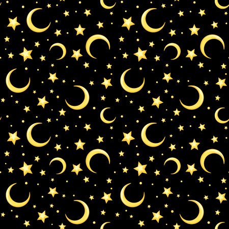 Vector seamless pattern with yellow stars and crescents on a black background.