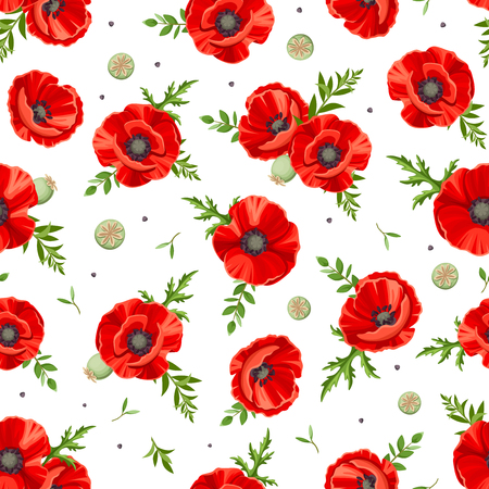 Vector seamless pattern with red poppies. Vettoriali